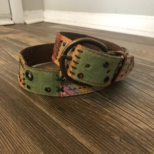 fossil leather patch belt